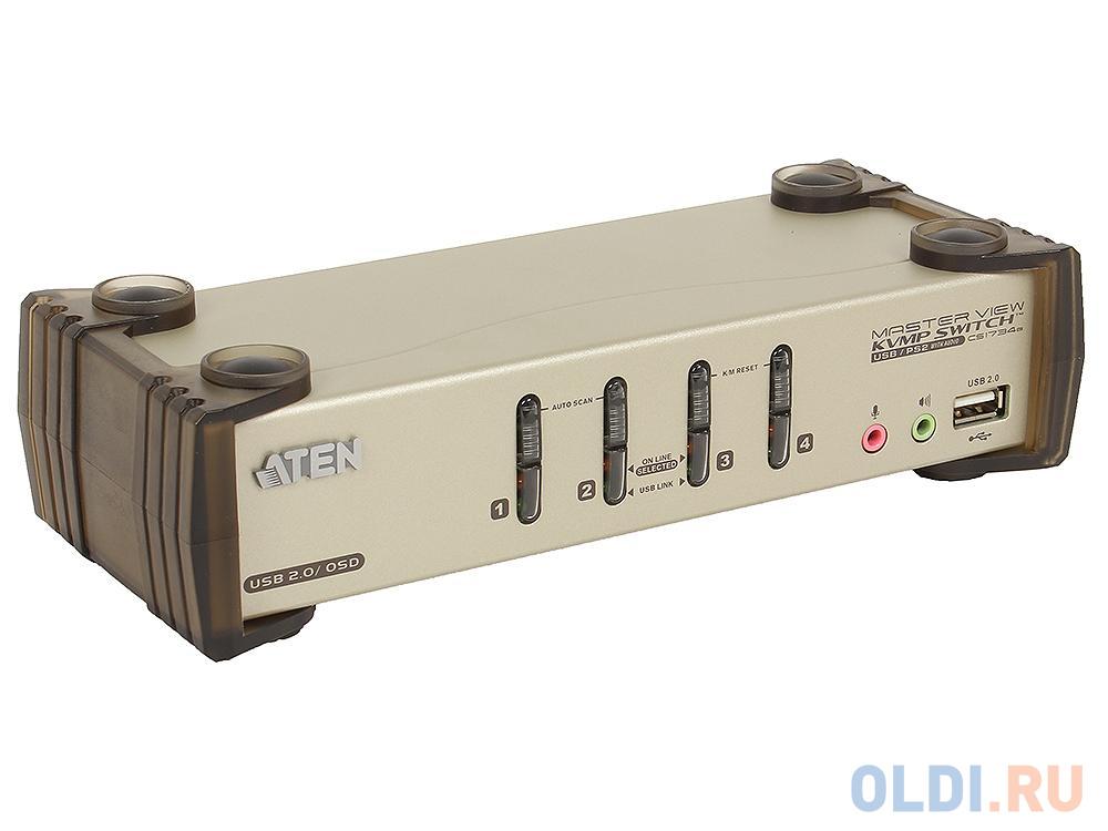 Переключатель ATEN KVM Switch CS1734B-A7-G 4 cpu PS2/USB+VGA, со шнурами USB 2х1.2м.+2х1.8м., 2048x1536, настол., исп.спец.шнуры, OSD, некаскад. переключатель kvm aten usb vga 2 cpu usb vga 2048x1536 настол исп стандарт шнуры без osd cs22u a7