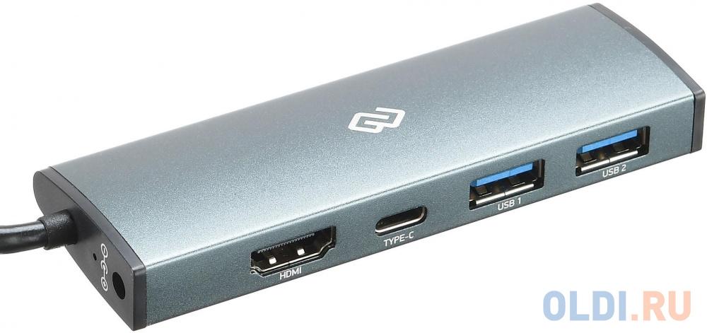 Разветвитель USB Type-C Digma HUB-2U3.0СH-UC-G HDMI USB Type-C 2 х USB 3.0 серый разветвитель usb type c hama aluminium 00135759 sd sdhc microsd usb type c 2 х usb 3 0 серебристый