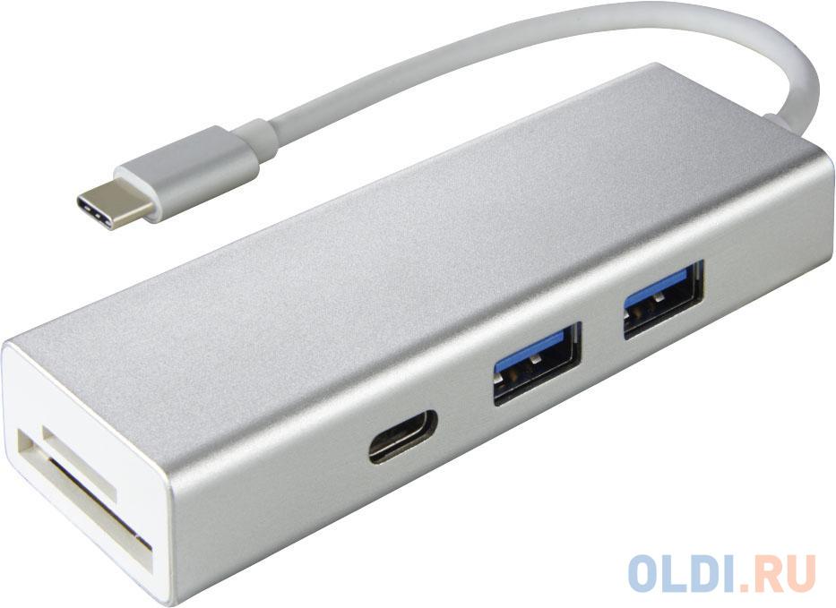Разветвитель USB Type-C HAMA Aluminium 00135759 SD/SDHC microSD USB Type-C 2 х USB 3.0 серебристый разветвитель usb type c hama aluminium 00135759 sd sdhc microsd usb type c 2 х usb 3 0 серебристый