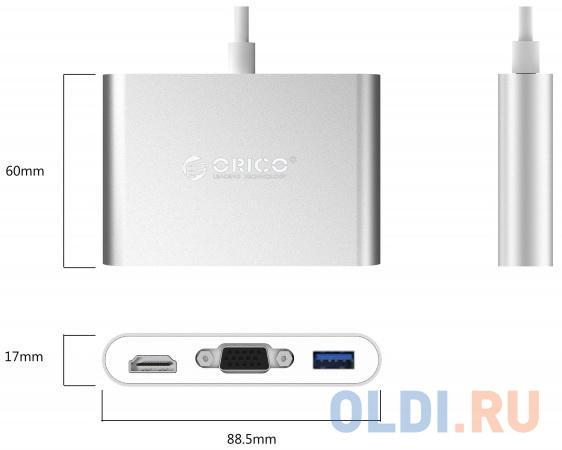 USB-концентратор Orico RCHV (серебристый) VGA*1, HDMI*1, Type-C*1, Type-A*1 USB type-c