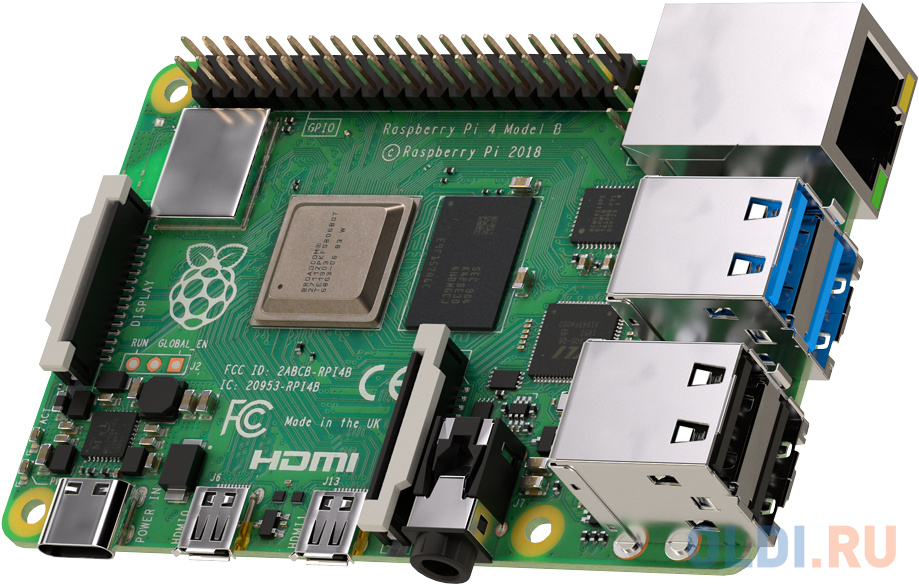 Raspberry Pi 4 Model B (RA545) Retail, 4GB RAM, Broadcom BCM2711 Quad core Cortex-A72 (ARM v8) 64-bit SoC @ 1.5GHz CPU, WiFi, Bluetooth, 40-pin GPIO, 2x USB 3.0, 2xUSB 2.0,2x micro-HDMI,CSI camera port,DSI display port,MicroSD port,USB-C 5V Power разъем