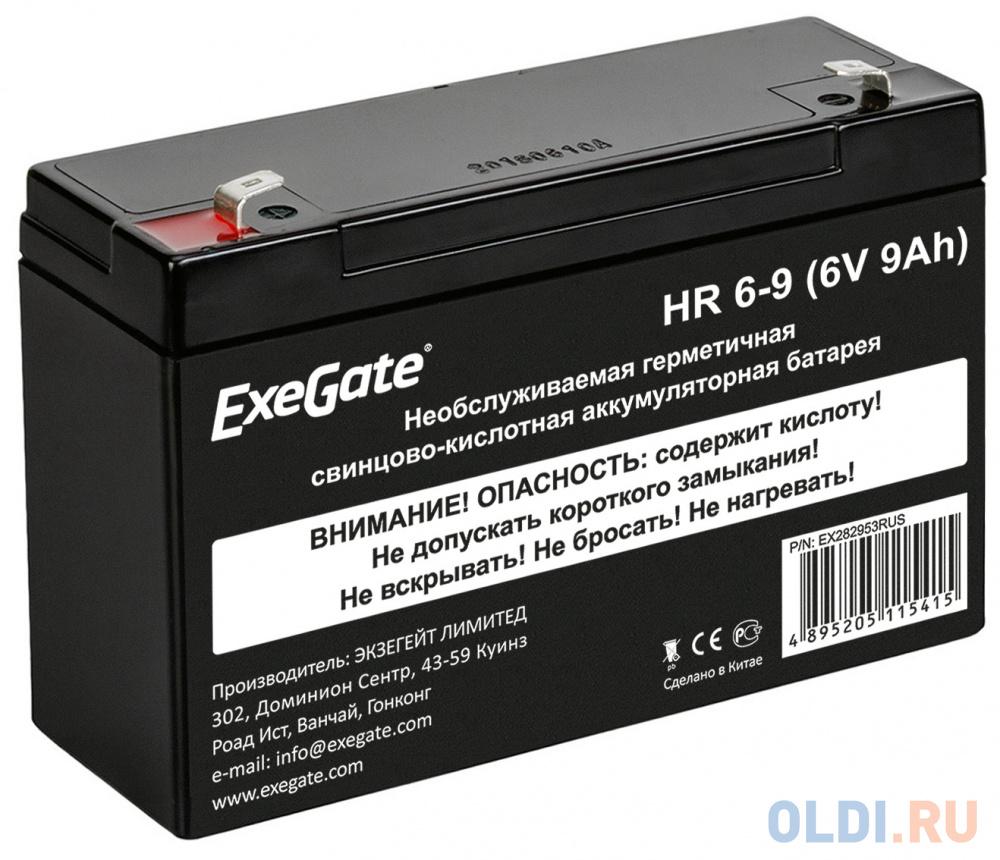 Exegate EX282953RUS Exegate EX282953RUS Аккумуляторная батарея ExeGate HR 6-9  (6V 9Ah 634W) клеммы F2.