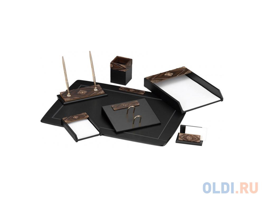 Настольный набор Good Sunrise 7 предметов МДФ/искуственный камень коричнево-черный W6AQ-1/C.