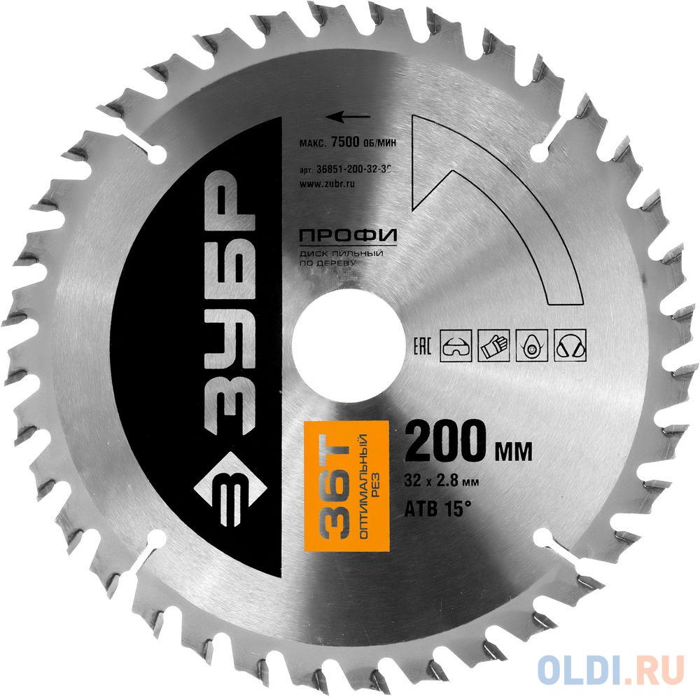 Круг пильный твердосплавный ЗУБР 36851-250-32-40  ПРОФИ оптимальный рез по дереву 40T 250х32мм.