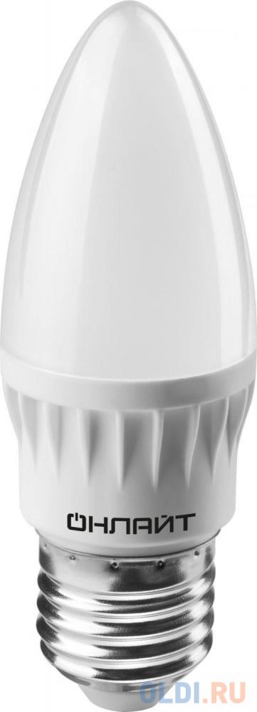 ЛАМПА СВЕТОДИОДНАЯ (LED) ОНЛАЙТ C37 СВЕЧА 08W 2700 К E27, МАТОВ., ТЕПЛ. СВЕТ (10/100) 71 634 лампа светодиодная sonnen 5 40 вт цоколь e27 свеча теплый белый свет led c37 5w 2700 e27 453707