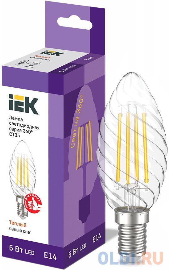 Фото - Iek LLF-CT35-5-230-30-E14-CL Лампа LED CT35 свеча вит. 5Вт 230В 3000К E14 серия 360° iek llf c35 5 230 30 e14 cl лампа led c35 свеча прозр 5вт 230в 3000к e14 серия 360°