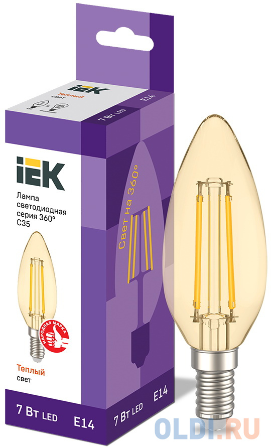 Фото - Iek LLF-C35-7-230-30-E14-CLG Лампа LED C35 свеча золото 7Вт 230В 2700К E14 серия 360° iek llf c35 5 230 30 e14 cl лампа led c35 свеча прозр 5вт 230в 3000к e14 серия 360°