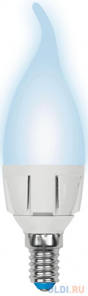 Лампа светодиодная свеча на ветру Uniel LED-CW37 7W/NW/E14/FR PLP01WH E14 7W 4000K