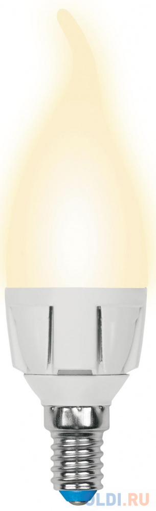 Лампа светодиодная свеча Uniel LED-CW37 7W/WW/E14/FR PLP01WH E14 7W 3000K