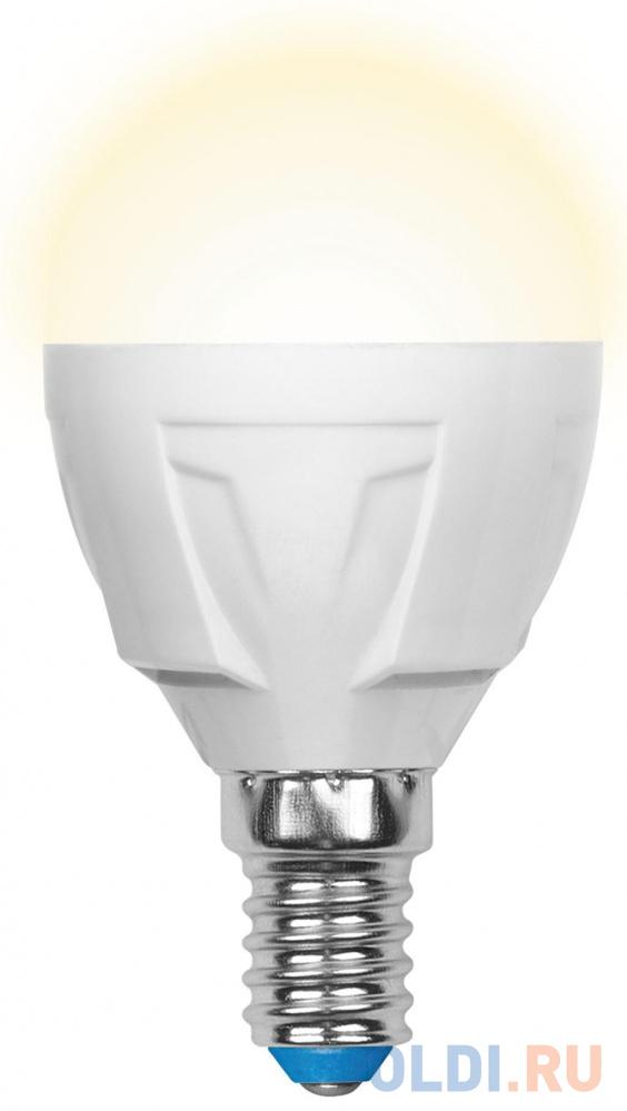 Лампа светодиодная шар Uniel LED-G45 7W/WW/E14/FR PLP01WH E14 7W 3000K UL-00002419