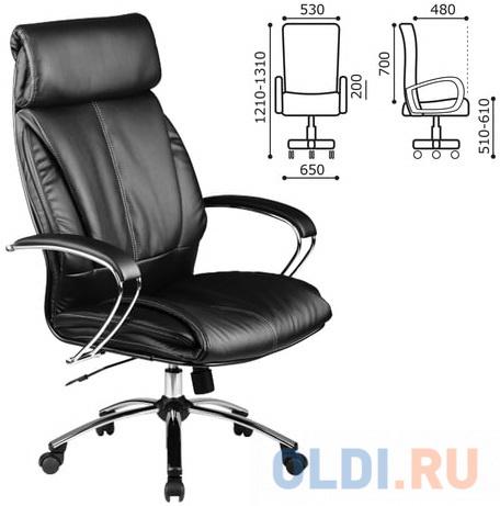 Кресло офисное МЕТТА LK-13CH, кожа, хром, черное кресло офисное метта lk 12pl экокожа черное ш к 86342