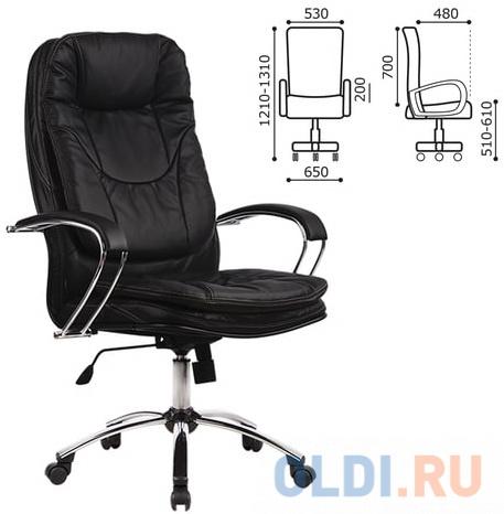 Кресло офисное МЕТТА LK-11CH, кожа, хром, черное кресло офисное метта lk 12pl экокожа черное ш к 86342