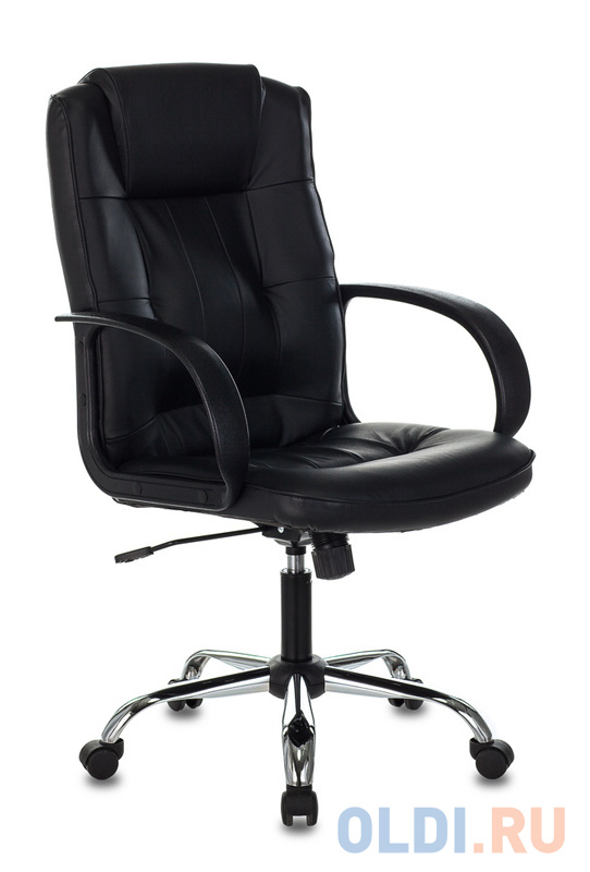 Кресло руководителя Бюрократ T-800N/BLACK черный кожа крестовина хром