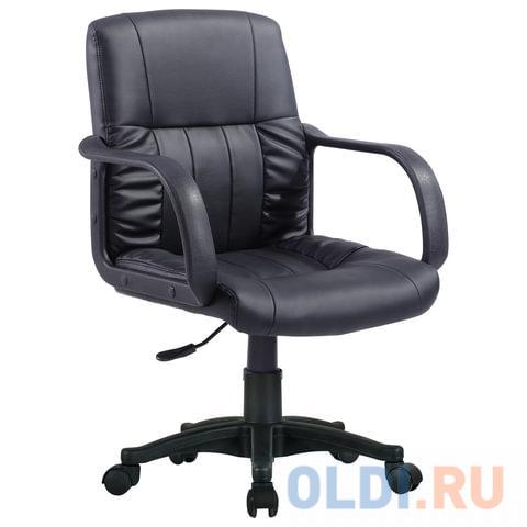 Фото - Кресло BRABIX Hit MG-300, с подлокотниками, экокожа, черное, 530864 кресло brabix stream mg 314 без подлокотников пятилучие серебристое экокожа бежевое 532078