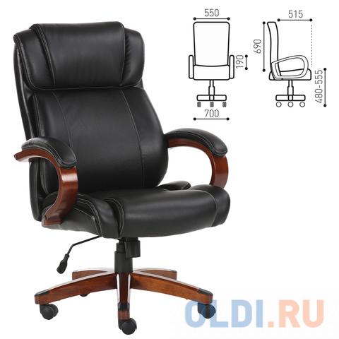 Фото - Кресло офисное BRABIX Magnum EX-701, дерево, рециклированная кожа, черное кресло офисное brabix status hd 003 рециклированная кожа хром черное 531821