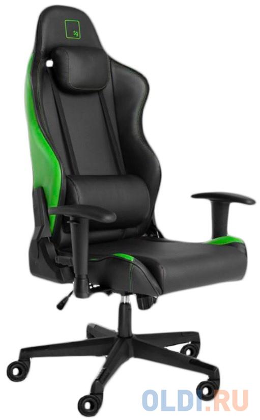 Игровое кресло WARP BGN чёрно-салатовое (экокожа, алькантара, регулируемый угол наклона, механизм качания)