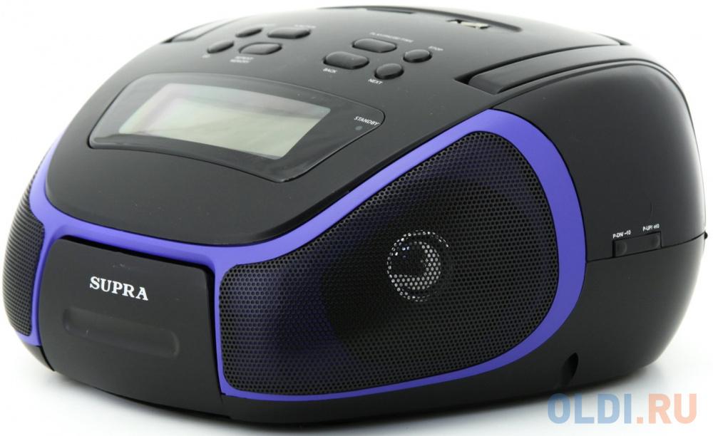 Фото - Аудиомагнитола Supra BB-23MUS черный/синий 3Вт/MP3/FM(dig)/USB/SD аудиомагнитола supra bts 655 черный