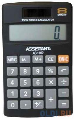 Калькулятор карманный Assistant AC-1102 8-разрядный черный фото