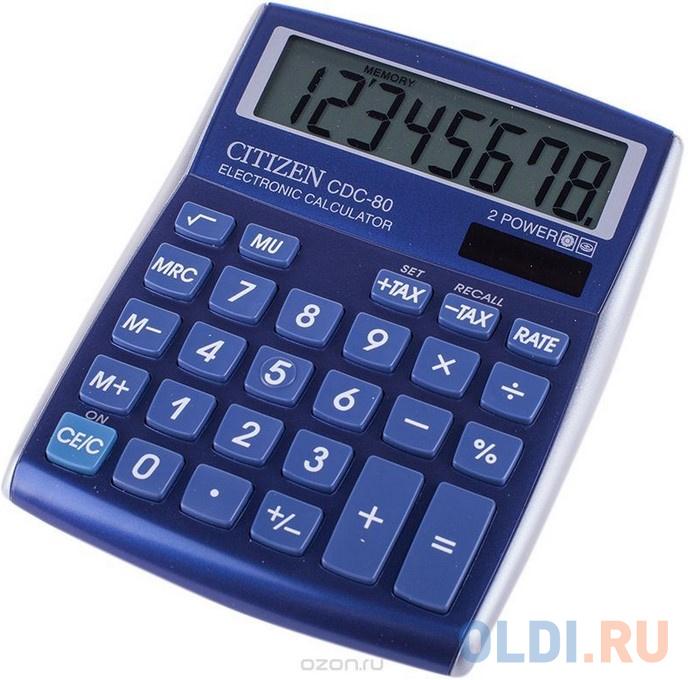 Калькулятор настольный 8 разр. 2-е питание TAX MU синий, разм. 135х108х24 мм фото