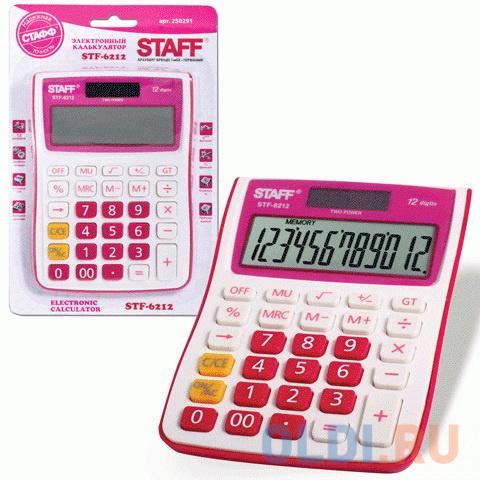 Калькулятор настольный STAFF STF-6212, КОМПАКТНЫЙ (148х105 мм), 12 разрядов, двойное питание, МАЛИНОВЫЙ, блистер, 250291 фото