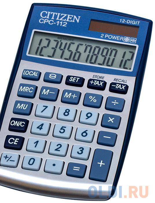 Калькулятор карманный Citizen CPC-112WB 12-разрядный серый