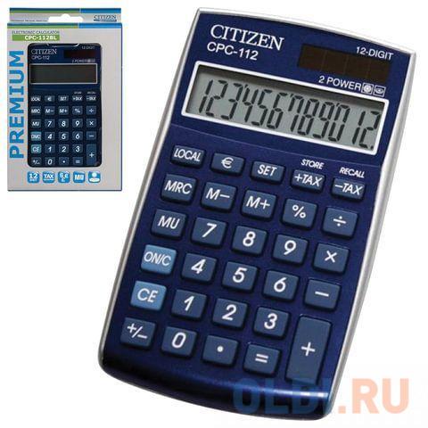 Калькулятор карманный Citizen CPC-112BLWB 12-разрядный синий