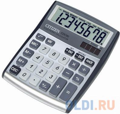 Калькулятор настольный CITIZEN CDC-80WB, КОМПАКТНЫЙ (135x108 мм), 8 разрядов, двойное питание