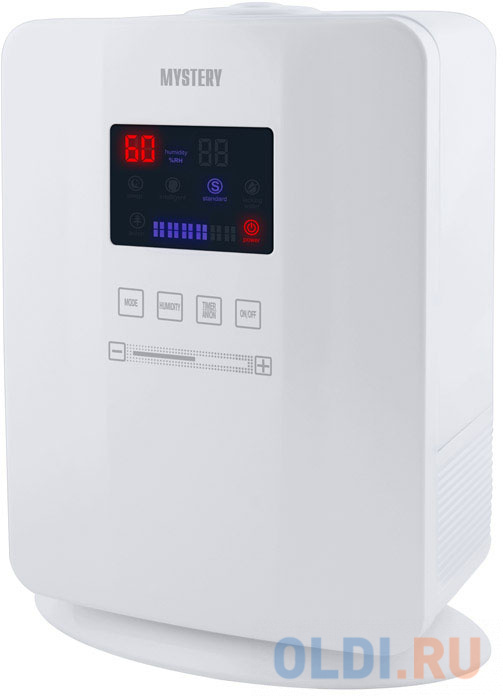 MYSTERY MAH-2608 Увлажнитель воздуха. Увлажнитель воздуха ультразвуковой. Сенсорнное управление. Экономичное энергопотребление: 25 Вт. Съемный водяной бак емкостью 5 литров..