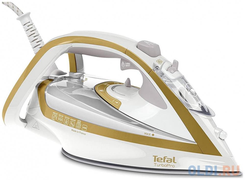 Фото - Утюг Tefal FV5625E0 2400Вт белый золотистый утюг tefal fv5718 easygliss plus белый бирюзовый