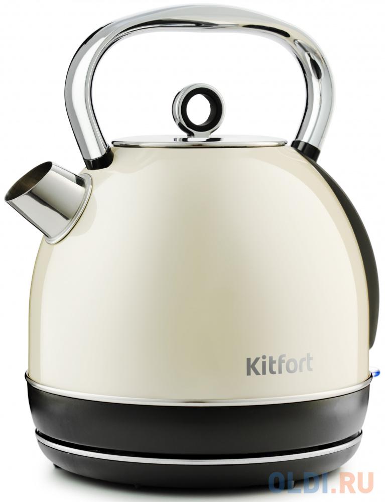 Чайник электрический KITFORT KT-699 2200 Вт серебристый 1.7 л металл/пластик чайник tefal ko371 i30 safe to touch 2200 вт чёрный бежевый 1 5 л металл пластик