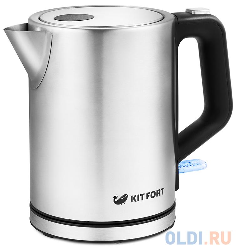 Чайник электрический KITFORT КТ-636 2200 Вт серебристый 1 л нержавеющая сталь чайник электрический kitfort кт 651 2200 вт серебристый 1 7 л металл стекло