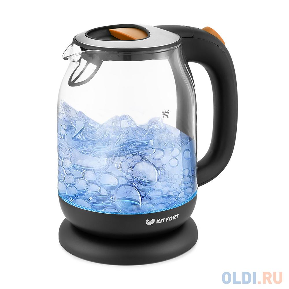 Чайник электрический KITFORT КТ-654-3 2200 Вт оранжевый чёрный 1.7 л пластик/стекло чайник kitfort кт 655 2200 вт чёрный 2 л пластик стекло