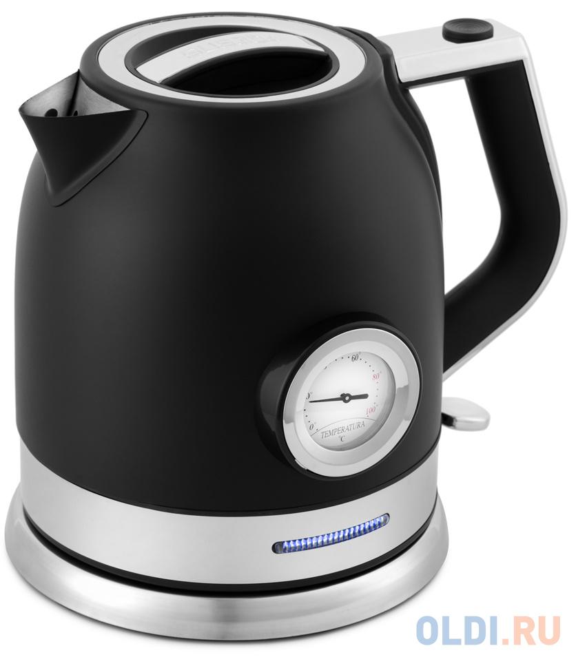 Чайник электрический KITFORT КТ-692-1 2200 Вт чёрный 1.7 л нержавеющая сталь чайник kitfort кт 655 2200 вт чёрный 2 л пластик стекло