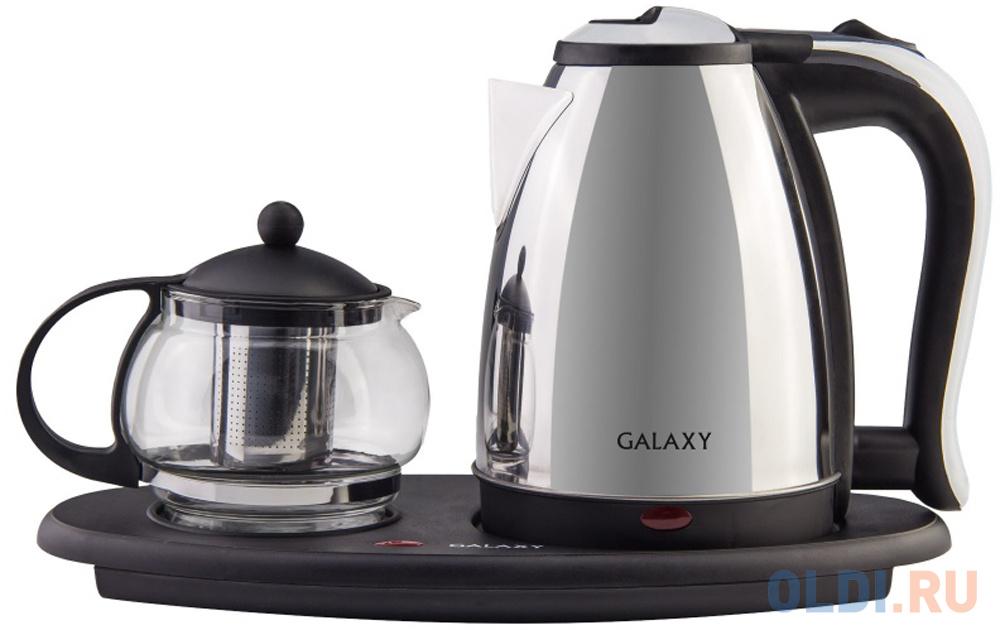 Чайный набор GALAXY GL0401 2000 Вт серебристый чёрный прозрачный 1.8 л металл/стекло тостер galaxy gl2902 серебристый чёрный