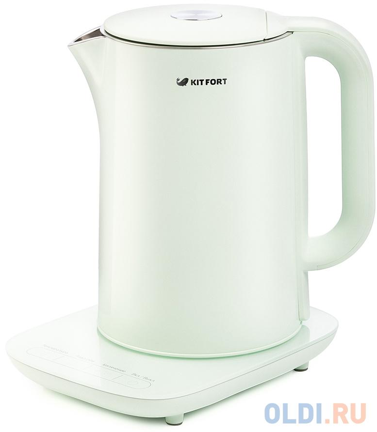 Чайник KITFORT KT-629-2 1800 Вт зелёный 1.5 л металл/пластик чайник kitfort kt 642 1 2200 вт розовый чёрный 1 7 л металл пластик