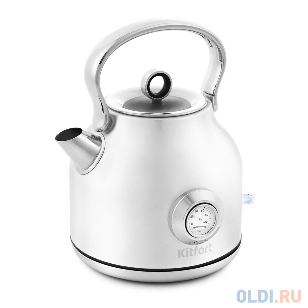 Чайник электрический KITFORT КТ-673-1 2200 Вт белый 1.7 л нержавеющая сталь чайник электрический kitfort кт 636 2200 вт серебристый 1 л нержавеющая сталь