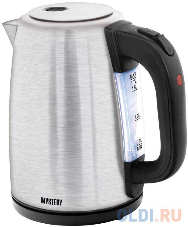 Чайник MYSTERY MEK-1644 2000 Вт серебристый чёрный 1.7 л металл/пластик.