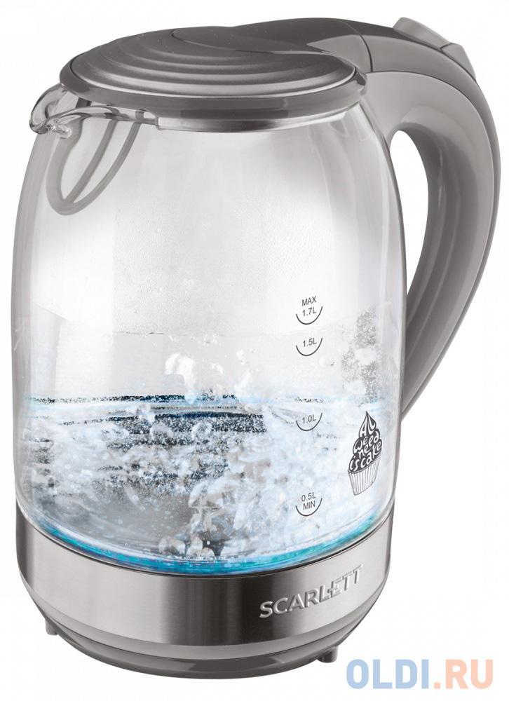 Чайник электрический Scarlett SC-EK27G64 2200 Вт серый 1.7 л стекло чайник электрический scarlett sc ek18p53 1л 1600вт белый серый корпус пластик