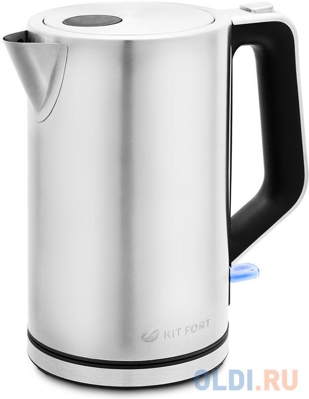 Чайник электрический KITFORT КТ-637 2200 Вт серебристый 1.7 л металл/пластик чайник электрический kitfort кт 651 2200 вт серебристый 1 7 л металл стекло