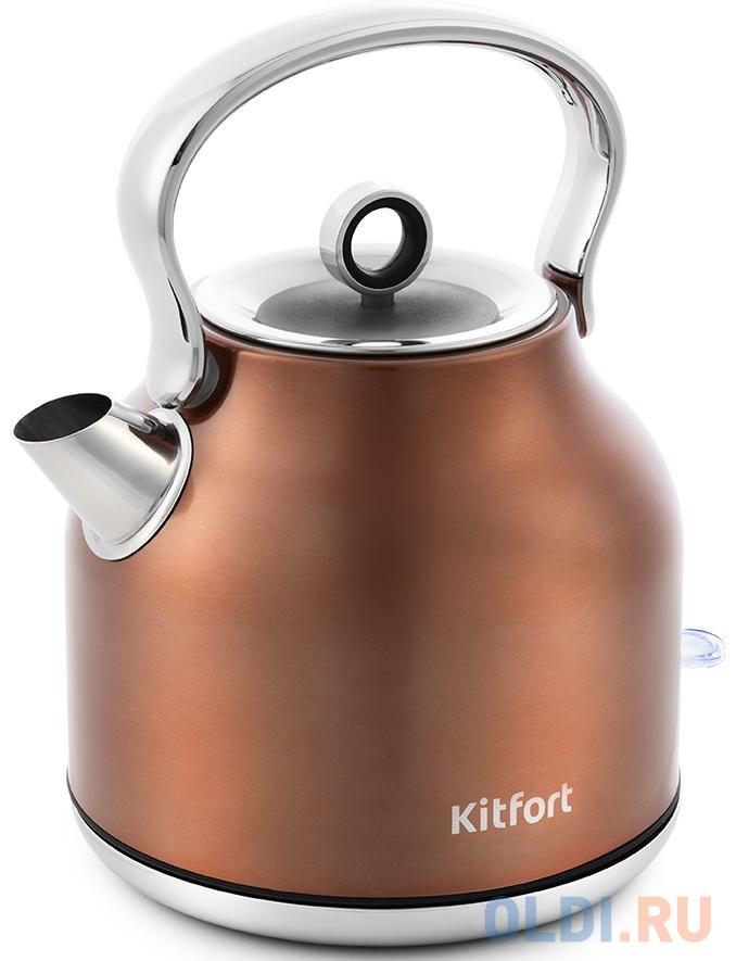 Чайник электрический KITFORT КТ-671-5 2200 Вт бронзовый 1.7 л нержавеющая сталь чайник kitfort kt 671 бронзовый