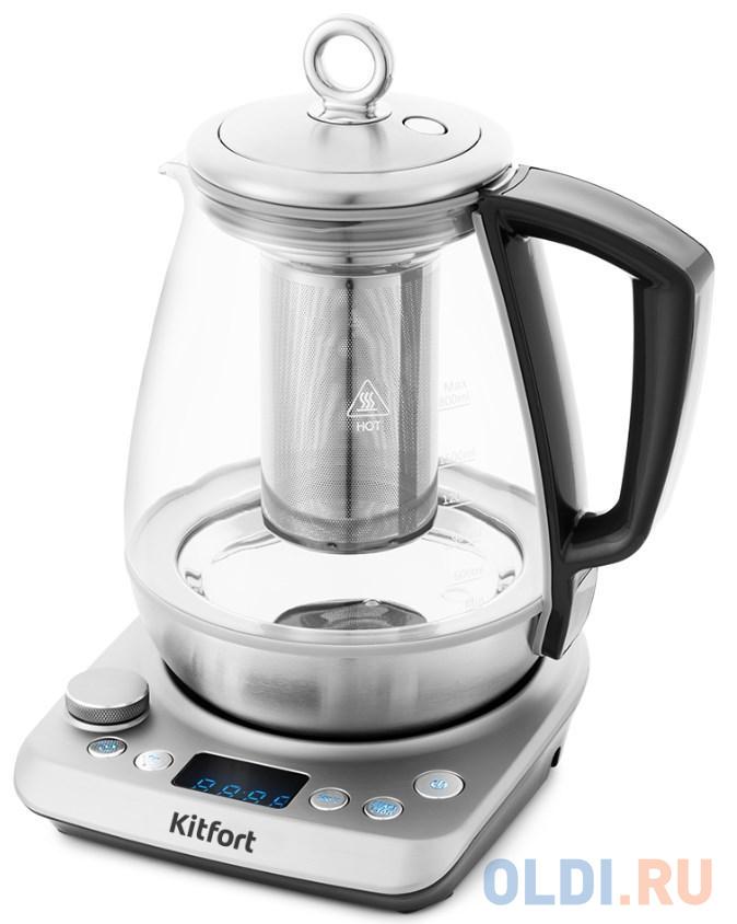 Чайник KITFORT КТ-669 1400 Вт серебристый 1.8 л стекло
