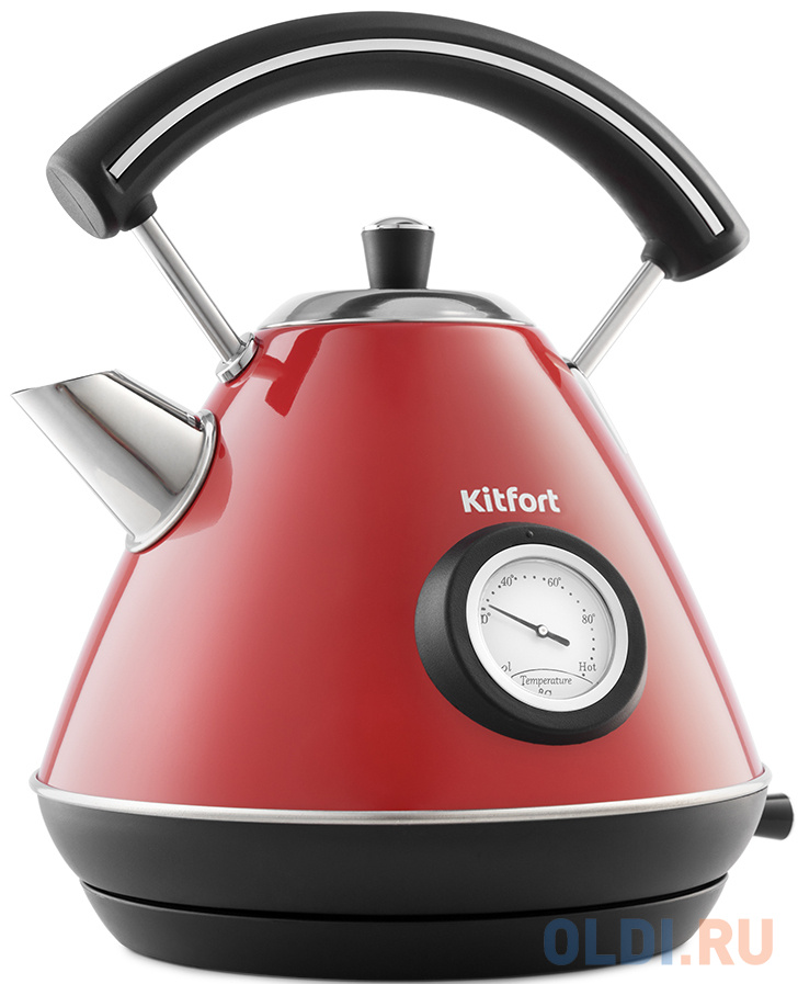 Чайник электрический KITFORT KT-687-1 2200 Вт красный 1.7 л нержавеющая сталь чайник kitfort kt 642 1 2200 вт розовый чёрный 1 7 л металл пластик