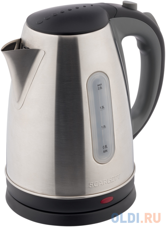Чайник электрический Scarlett SC-EK21S97 2200 Вт чёрный серый 2 л металл чайник tefal ko371 i30 safe to touch 2200 вт чёрный бежевый 1 5 л металл пластик