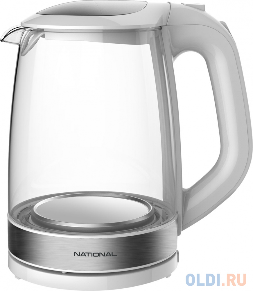 Чайник NATIONAL NK-KE20307, закрытый нагревательный элемент, объем 2 л, мощность 2200 Вт, стекло, белый