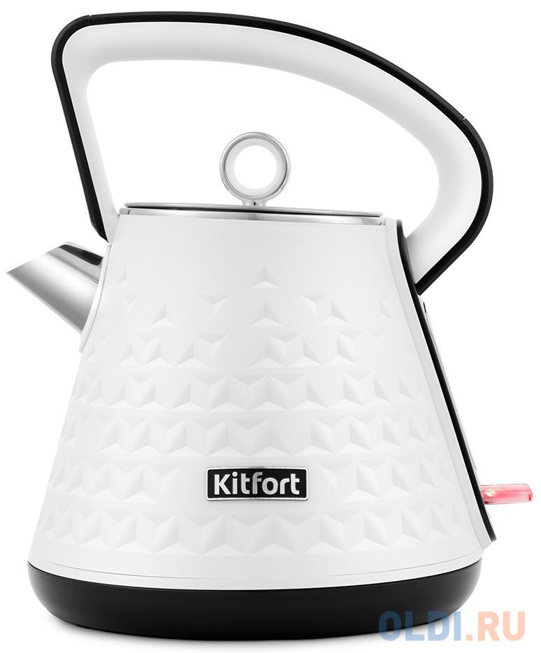 Фото - Чайник электрический KITFORT КТ-693-1 2200 Вт белый 1.5 л пластик чайник электрический kitfort кт 667 1 1150вт белый