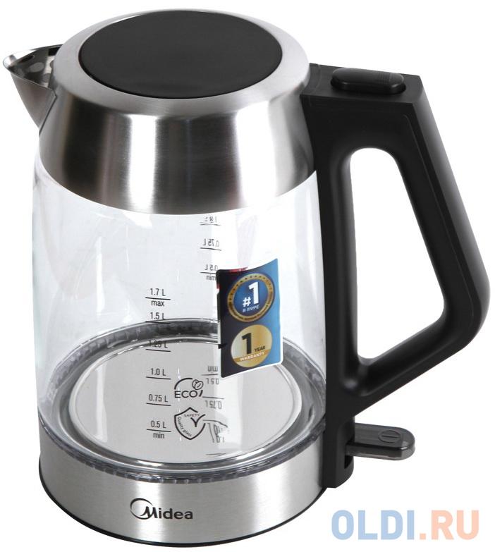 Чайник Midea MK-8011 2200 Вт чёрный серебристый 1.7 л металл/стекло чайник tefal ko371 i30 safe to touch 2200 вт чёрный бежевый 1 5 л металл пластик