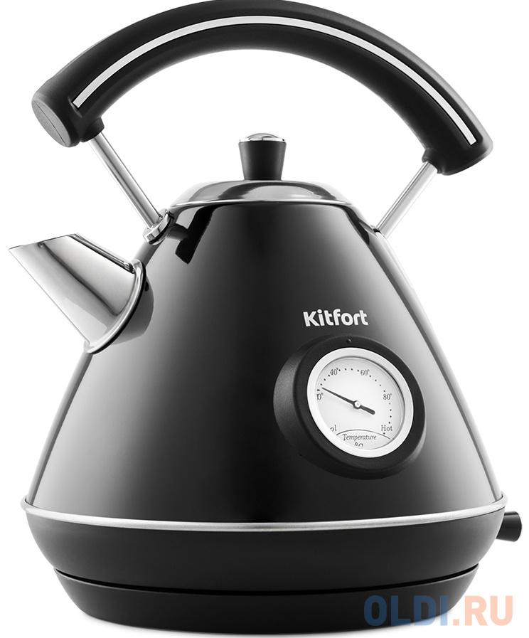 Чайник электрический KITFORT KT-687-2 2200 Вт чёрный 1.7 л нержавеющая сталь чайник kitfort kt 642 1 2200 вт розовый чёрный 1 7 л металл пластик
