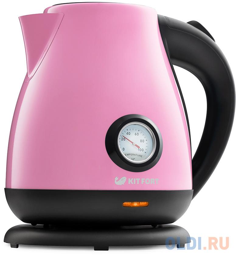 Чайник KITFORT KT-642-1 2200 Вт розовый чёрный 1.7 л металл/пластик чайник tefal ko371 i30 safe to touch 2200 вт чёрный бежевый 1 5 л металл пластик