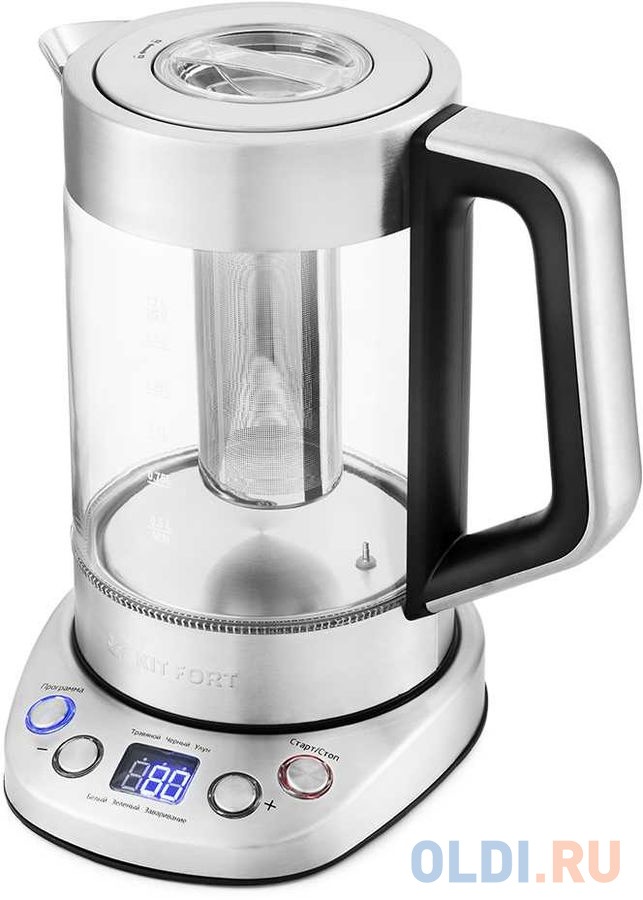 Чайник электрический KITFORT КТ-651 2200 Вт серебристый 1.7 л металл/стекло чайник электрический bosch twk7090b 2200 вт серебристый 1 5 л металл стекло