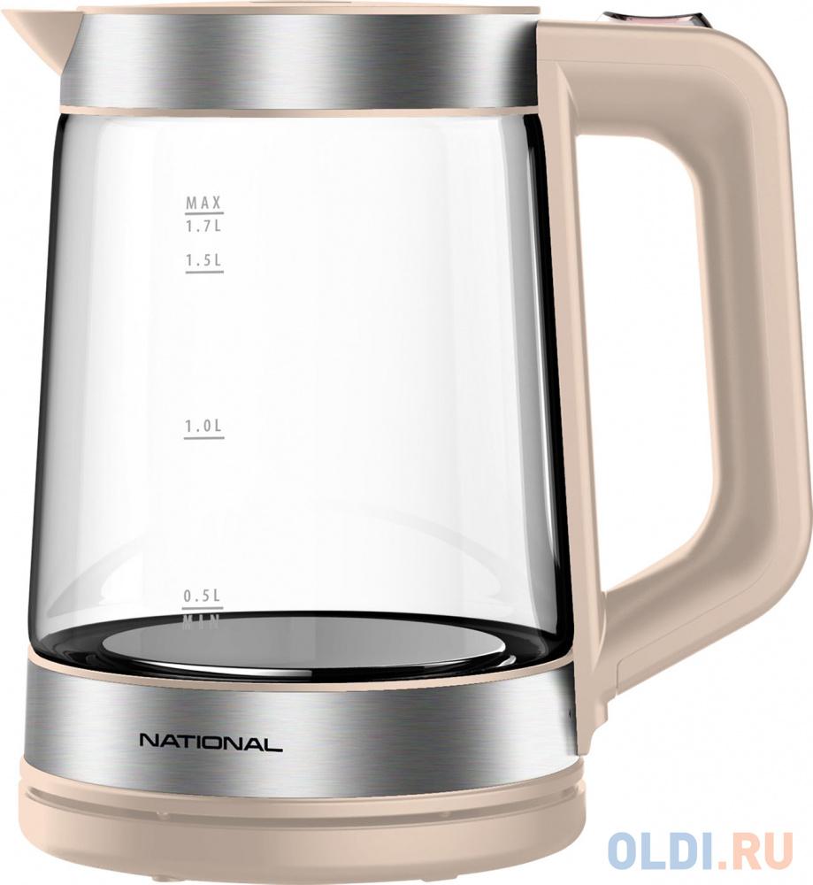 Чайник National NK-KE17321 2200 Вт бежевый 1.7 л пластик/стекло чайник tefal ko371 i30 safe to touch 2200 вт чёрный бежевый 1 5 л металл пластик